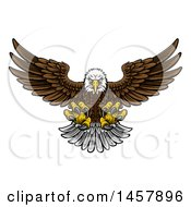 Clipart Of A Cartoon Swooping American Bald Eagle With Talons Extended Flying Forward Royalty Free Vector Illustration