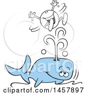 Cartoon Moodie Character Riding A Splash From A Whale Blowhole