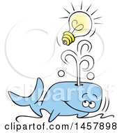 Clipart Of A Cartoon Whale Spouting An Idea Out Of His Blowhole Royalty Free Vector Illustration by Johnny Sajem