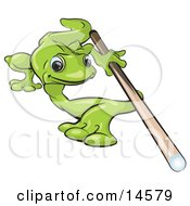 Poster, Art Print Of Green Gecko Leaning Over Really Far To Aim While Shooting A Game Of Pool Billiards