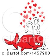 Poster, Art Print Of Cartoon Red Whale Spouting Love Hearts Out Of His Blowhole