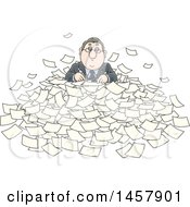 Cartoon White Businessman Buried In Paperwork