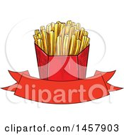 Clipart Of A Sketched French Fries Design Royalty Free Vector Illustration by Vector Tradition SM