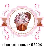 Clipart Of A Sketched Cupcake Label Or Logo Royalty Free Vector Illustration