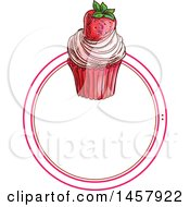 Clipart Of A Sketched Cupcake Label Or Logo Royalty Free Vector Illustration by Vector Tradition SM