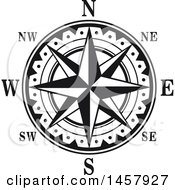 Clipart Of A Black And White Compass Rose Royalty Free Vector Illustration