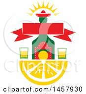Clipart Of A Mexican Design With An Alcohol Bottle And Glasses Over A Lemon Wedge Royalty Free Vector Illustration