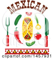 Clipart Of A Mexican Cuisine Design With Chili Peppers A Burrito Cutlery Veggies And Text Royalty Free Vector Illustration by Vector Tradition SM