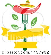 Clipart Of A Mexican Cuisine Design With A Chili Pepper On A Fork Sombrero Hat Leaves And Blank Banner Royalty Free Vector Illustration by Vector Tradition SM