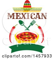 Clipart Of A Mexican Cuisine Design With A Sombrero Chiles Bown Of Chili Silverware And Banner Royalty Free Vector Illustration by Vector Tradition SM