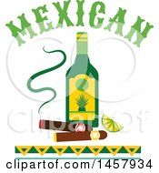 Clipart Of A Mexican Design With An Alcohol Bottle And Cigars Royalty Free Vector Illustration by Vector Tradition SM