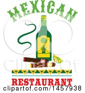 Clipart Of A Mexican Design With An Alcohol Bottle And Cigars Royalty Free Vector Illustration