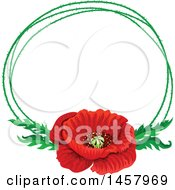 Red Poppy Flower And Green Frame Design Element