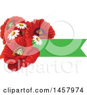 Clipart Of A Red Poppy Flower And Green Banner Design Element Royalty Free Vector Illustration by Vector Tradition SM