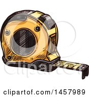 Clipart Of A Sketched Tape Measure Royalty Free Vector Illustration
