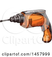 Clipart Of A Sketched Power Drill Royalty Free Vector Illustration