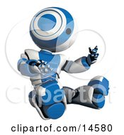 Blue And White Robot Sitting And Looking At His Own Hands In Amazement Glossy Robot Inspecting Himself