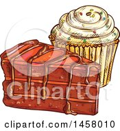Clipart Of A Sketched Cupcake And Chocolate Cake Royalty Free Vector Illustration by Vector Tradition SM