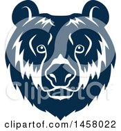 Clipart Of A Blue Bear Mascot Face Royalty Free Vector Illustration