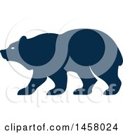 Clipart Of A Blue Bear Mascot In Profile Royalty Free Vector Illustration