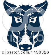Clipart Of A Blue Boar Mascot Face Royalty Free Vector Illustration