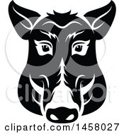 Clipart Of A Black And White Boar Mascot Face Royalty Free Vector Illustration