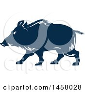 Clipart Of A Blue Razorback Boar Mascot In Profile Royalty Free Vector Illustration