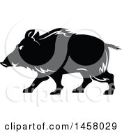 Clipart Of A Black And White Razorback Boar Mascot In Profile Royalty Free Vector Illustration