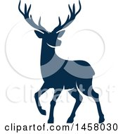 Clipart Of A Blue Alert Buck Deer Royalty Free Vector Illustration