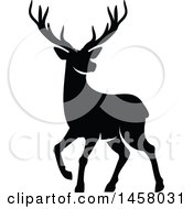 Clipart Of A Black And White Alert Buck Deer Royalty Free Vector Illustration
