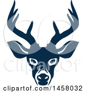 Clipart Of A Blue Buck Deer Mascot Face Royalty Free Vector Illustration