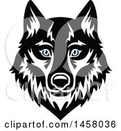 Clipart Of A Black And White Wolf Mascot Face Royalty Free Vector Illustration by Vector Tradition SM