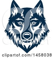 Clipart Of A Blue Wolf Mascot Face Royalty Free Vector Illustration