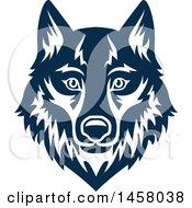Blue Wolf Mascot Face