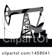 Clipart Of A Black Silhouetted Oil Pump Royalty Free Vector Illustration by Vector Tradition SM
