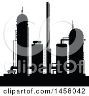 Clipart Of A Black Silhouetted Industrial Plant Royalty Free Vector Illustration