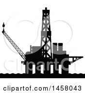 Clipart Of A Black Silhouetted Oil Platform Royalty Free Vector Illustration