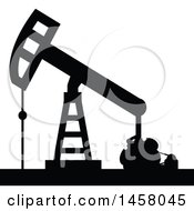Clipart Of A Black Silhouetted Oil Pump Royalty Free Vector Illustration