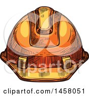 Clipart Of A Sketched Hardhat Royalty Free Vector Illustration by Vector Tradition SM