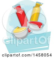 Clipart Of A Ketchup And Mustard Design Royalty Free Vector Illustration