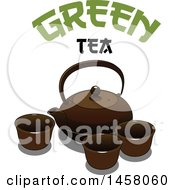 Japanese Teapot And Cups With Green Tea Text