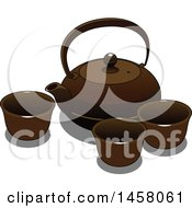 Clipart Of A Japanese Teapot And Cups Royalty Free Vector Illustration by Vector Tradition SM