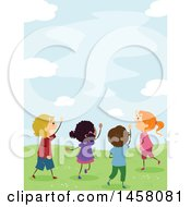 Clipart Of A Group Of Excited Kids Looking Up At The Sky Royalty Free Vector Illustration