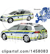 Clipart Of A Slovene Police Car With A Map And Euro Police Text Royalty Free Vector Illustration by dero