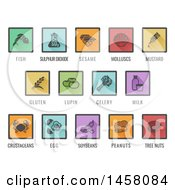 Clipart Of Square Colored Icons Of Major Allergens Royalty Free Vector Illustration