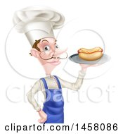 White Male Chef With A Curling Mustache Holding A Hot Dog On A Platter