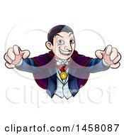 Clipart Of A Cartoon Vampire Reaching Out With His Hands Royalty Free Vector Illustration by AtStockIllustration
