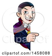 Clipart Of A Cartoon Vampire Pointing Around A Sign Royalty Free Vector Illustration