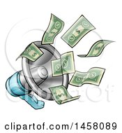 Clipart Of Cartoon Money Flying Out Of A Megaphone Royalty Free Vector Illustration by AtStockIllustration