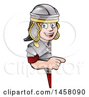 Poster, Art Print Of Cartoon Happy Roman Soldier Pointing Around A Sign